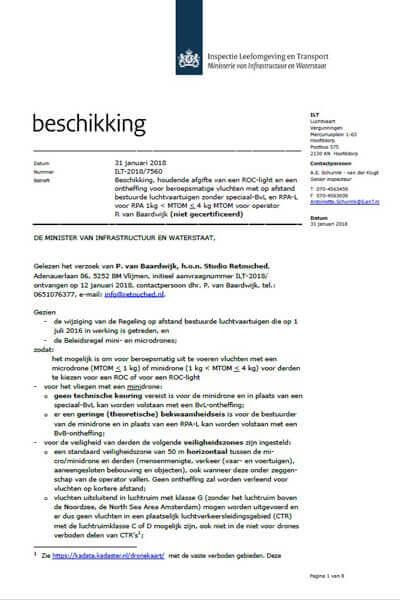 beschikking ROC-light Paul van Baardwijk