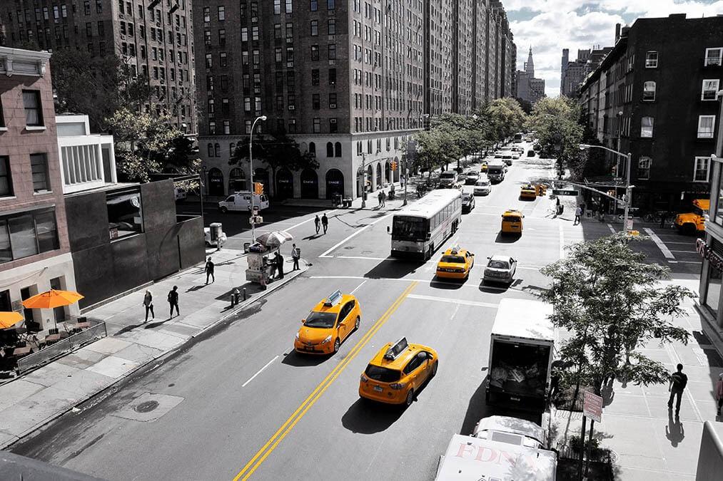Yellow caps op een kruising NYC